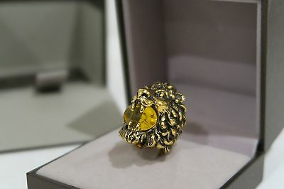 Authentic Gucci Lion Head Ring with Swarovski