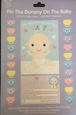 Pin / Stick the Dummy on The Baby - Baby Shower Party Game & Certificate