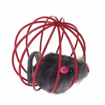 Pet Cat Funny Playing Toy Teal Fake Mouse Mice Rat in Cage Ball SE