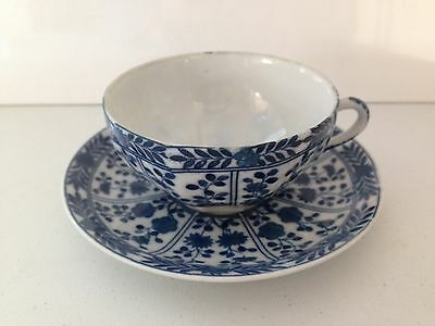 Gorgeous Royal Kentucky Blue & White Floral Pattern Cup & Saucer Eggshell China