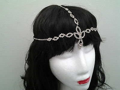 Vintage Headchain bridal Diamante silver  Downton Abbey Flapper 20s Gatsby