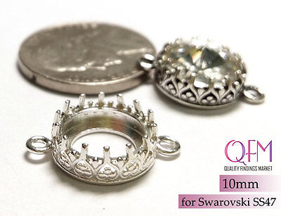 5pcs Round Bezel Cup 10mm Sterling Silver 925 with 2 loops JBB Shiny or Antique