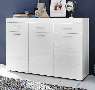 sideboard wei hochglanz kommode 3 t rig sideboard flurkommode anrichte amanda eur 298 99. Black Bedroom Furniture Sets. Home Design Ideas