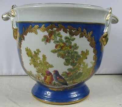 Real Nice Antique Urn Vase Ice Bucket Blue & Gold With Love Birds