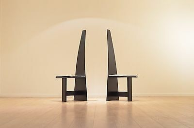2 x Modernist 1930s Cubic Painted Plywood Hallway Chairs