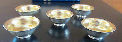 5 Antique Japanese Pure Silver (950) Sake' Cups 1868-1912