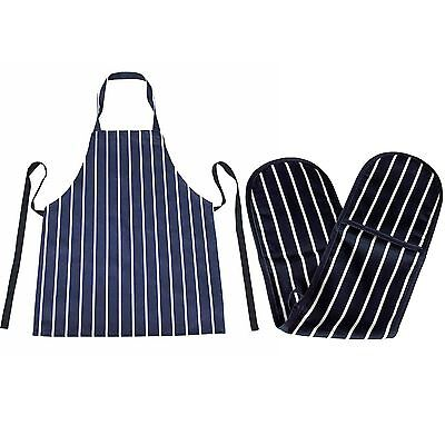 Butchers Apron and Double Oven Gloves Navy Striped for Cooking, BBQ & Baking