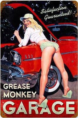 Grease Monkey Garage Pin Up Girl Metal Sign Man Cave Body Shop Mechanic HB004