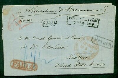 NORWAY 1866 to U.S. stampless letter, via RUSSIA, all proper markings