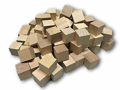 """100 1"""" Wooden Blocks Good Wood Cubes Squares Arts Crafts Unfinished Bagged New"""
