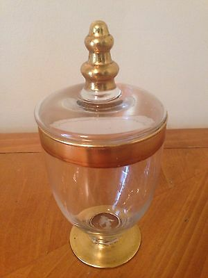 Vtg Glass Apothecary Candy Wedding Buffet Display Storage Jar & Lid Gold