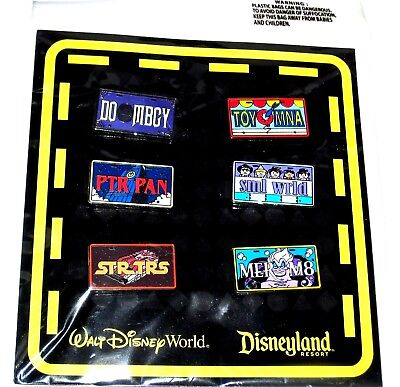 Retired Disney 6 Pin SET✿Booster License Plates Haunted Mansion Star Tours +MORE