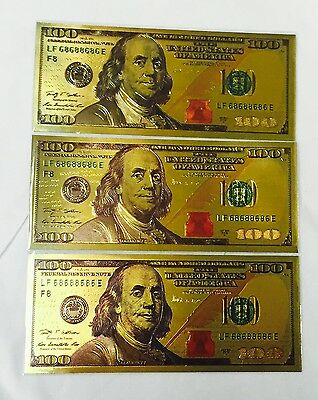 3 Pcs New Style $100 One Hundred U.S. Dollars 24k .999 Gold Banknotes w/ Sleeves