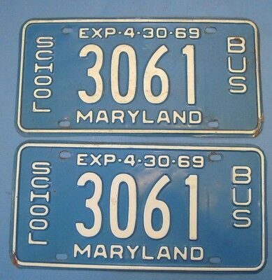 1969 Maryland License Plates Matched Pair School bus