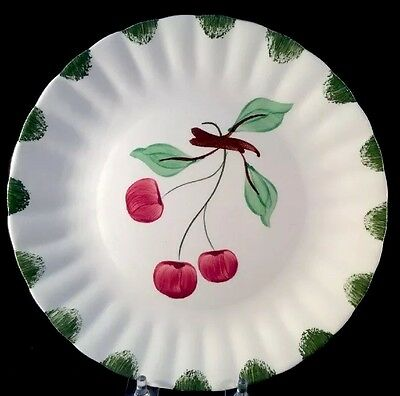 Cherries Fruit Luncheon Plate Hand Painted 1940s Blue Ridge Southern Potteries