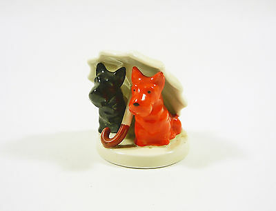 """A Pair Of Dogs Under An Umbrella 2.2"""", Vintage Handpainted Porcelain Figurine !"""