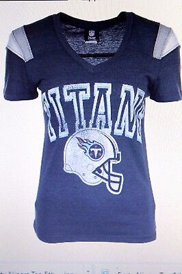 Tennessee TITANS Women s NFL Shoulder Stripe T-Shirt by 5th   Ocean NWT ... a5594c7e4