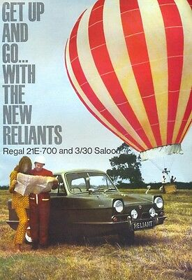 Reliant Regal 21E-700 & 3/30 Saloon 1968 UK market sales brochure + price list