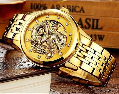 NEW Classic Men's Gold Dial Dragon Skeleton Mechanical Wrist Watch Army Invicta