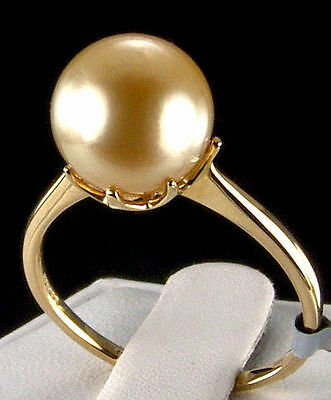 Genuine Golden South Sea Cultured Pearl 10k Solid Gold Ring, 10.5-11.0mm, Size 9