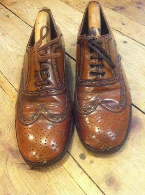 Superb 50s Vtg Tan Brown Leather Brogues Brogue Shoes Chore Oxford Peasant