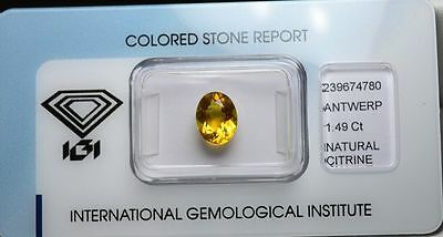 Citrine 1.49 carats - Natural Unheated Citrin Certified IGI