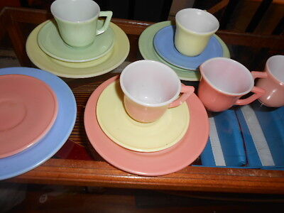 Vintage Hazel Atlas Little Hostess Moderntone Childs Tea Set 13 piece Pastel