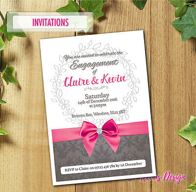 Personalised Engagement Party Invitations + Free Envelopes