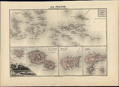 French Pacific Oceania Tahiti Papeete view Nouka-Hiva 1903 lovely antique map