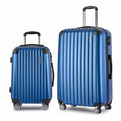 """NEW 2 Pieces ABS Hard Shell Travel Case Luggage 20"""" and 28"""" with TSA Lock - Blue"""