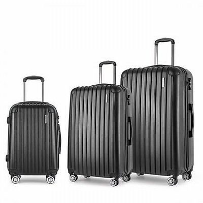 "NEW 3pcs Lightweight Hard Shell Travel Case Luggage 20"" 24"" 28"" Black w TSA Lock"