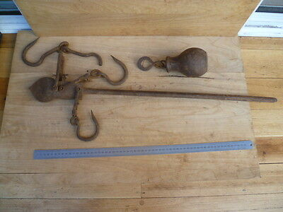 Antique Old Large Size Cast Iron Hanging Scales Set, (C348)