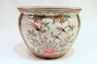 """Beautiful Vintage Style Chinese Rose Medallion Porcelain Fish Bowl 5"""" Tall"""