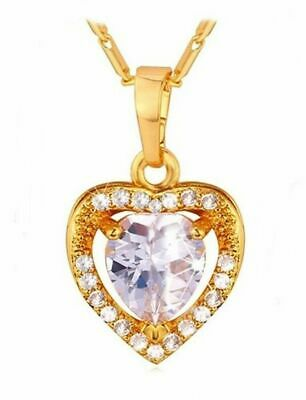 Luxury ❤️ Pendant Classy Herz-Kette Yellow Gold Plated Necklace Ladies Gifts