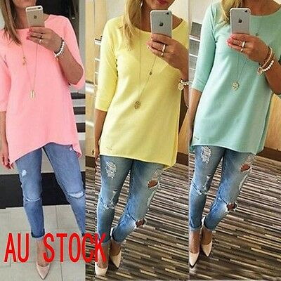 Hot Fashion Loose Pullover Cotton Tops T Shirt 3/4 Sleeve Womens Long Blouse Top