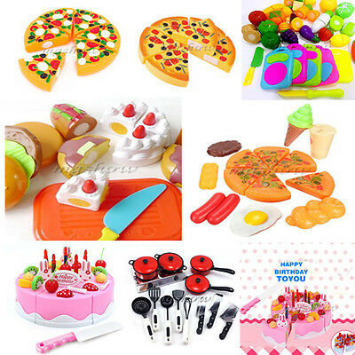 Kids Pretend Role Play Home Kitchen Fruit Vegetable Food Toy Cutting Set Gift