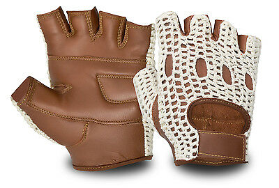 Genuine Leather Half Finger Driving Gloves Crochet Back Chauffeur Motorbike
