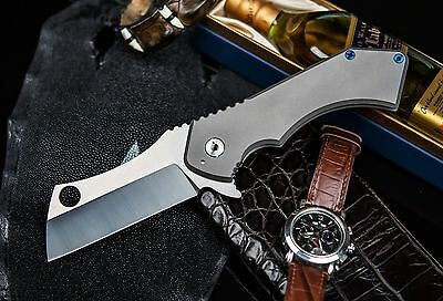 Full Size Field Cleaver XL Tactical/Hunting Folding Knife D2 Blade & Titanium