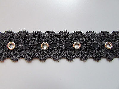 """Black Lace Eyelet Trim/Tape 2cm 3/4"""" Sewing/Costume/Crafts/Corsetry/Bridal"""