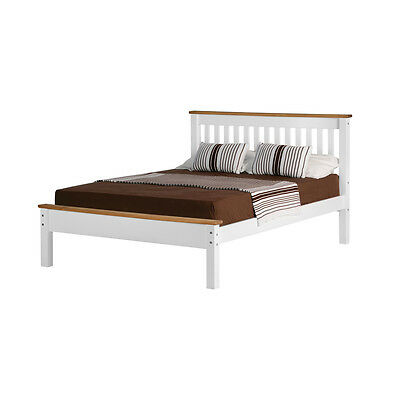 Monaco Bed Frame Low Foot End - Double 4ft6 - Strong Wood with Headboard Slatted