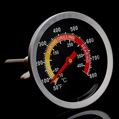 Barbecue Thermometer Gauge 50-400℃ BBQ Smoker Grill Temperature Stainless Steel
