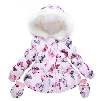 Baby Kids Girls Fur Winter Hooded Coat Cloak Jacket Thick Warm Outwear Snowsuit