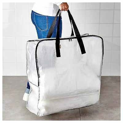 Brand New Ikea Dimpa Large Transparent Storage Laundry Bag With Zip