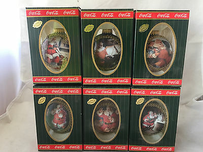 Lot of 6 1995 Coca-Cola Coke Trim-A-Tree Glass Globe Christmas Tree Ornaments
