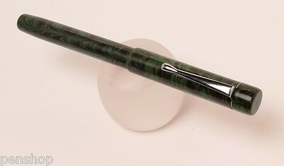 Handmade Ebonite Fountain Pen Green / Black Rippled Eyedropper Made In India