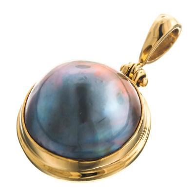 """1 1/8"""" SOUTH PACIFIC BLUE MABE PEARL GOLD VERMEIL 925 STERLING SILVER pendant"""