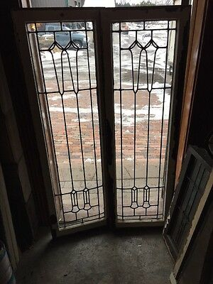 Sg 988 Match Pair Antique Leaded Glass Windows 18.5 X 58.25