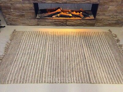 STRIPED NATURAL Cotton Jute Handloomed Cream Beige Washable Reversible Rugs S-XL