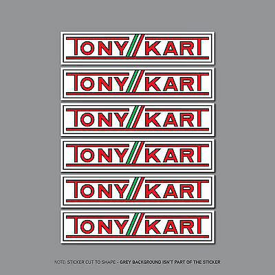 SKU2455 - 6 TONYKART Stickers  Decals - Karting - 150mm x 32mm