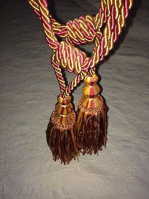 """Pair Of Large 9"""" Curtain Drape Tassels Cranberry Red & Gold Elegant  29"""" Total"""